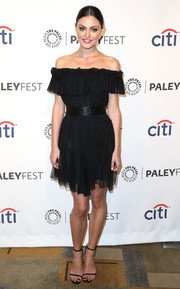 Phoebe Tonkin charmed in a ruffled off-the-shoulder LBD by Camilla and Marc during PaleyFest.