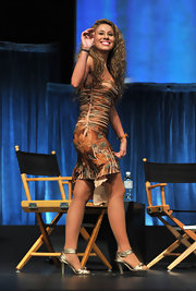 Haley hit the stage at Paleyfest in a floral frock and golden ankle strap sandals.