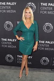 Kristin Chenoweth sparkled in a beaded emerald dress at the Paley Center press preview of 'You Can't Stop the Beat: The Art and Artistry of Hairspray Live!'