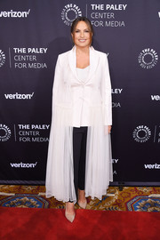 Mariska Hargitay donned a white tulle coat for a feminine finish to her suit at the Paley Honors: Celebrating Women in Television event.