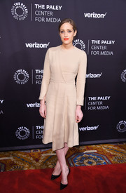 Carly Chaikin kept it low-key in a long-sleeve nude midi dress by Hellessy at the Paley Honors: Celebrating Women in Television event.