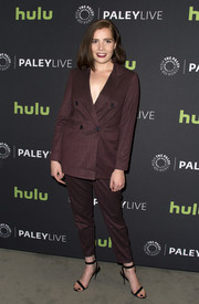 Elise Eberle suited up in this burgundy Asos number for the 'Salem' season 3 premiere.