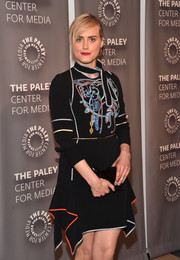 Taylor Schilling attended the PaleyLive LA 'Orange is the New Black' event carrying the celeb-favorite Anya Hindmarch Crisp Packet clutch, in black.