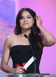Michelle Rodriguez accessorized her simple strapless dress with a lovely diamond bracelet at the Palme d'Or Award ceremony.