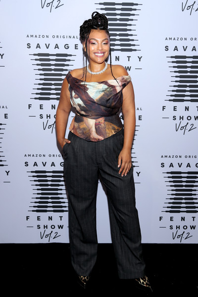 Paloma Elsesser Print Pants [savage x fenty show vol. 2,image,clothing,fashion,fashion design,shoulder,fashion model,carpet,red carpet,muscle,flooring,style,rihanna,paloma elsesser,savage x fenty,repeat,clothing,fashion,runway,amazon prime vide -- step,paloma elsesser,fashion,fashion show,new york fashion week,model,savage x fenty show,clothing,runway,savage x fenty,savage x fenty]