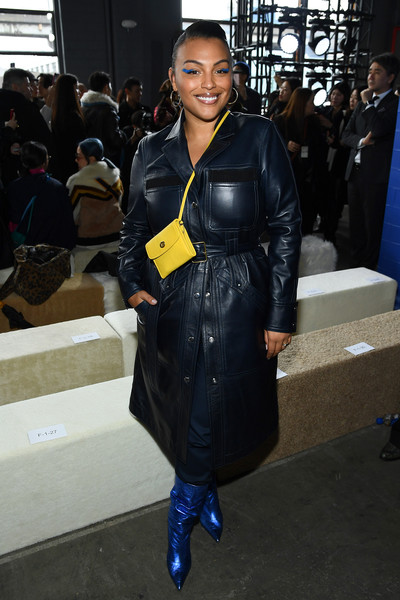 Paloma Elsesser Leather Shoulder Bag [clothing,leather,fashion,outerwear,footwear,jacket,leather jacket,street fashion,textile,electric blue,coach,coach 1941,paloma elsesser,front row,new york city,new york fashion week,fashion show,leather jacket,fashion week,fashion,new york fashion week,new york fashion week | aw20,clothing,jacket,coat,model,trench coat]