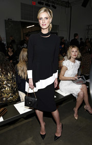 Nicky Hilton paired her top with a simple black pencil skirt.