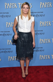Mischa Barton was office-chic up top in a sleeveless white button-down during the New York premiere of 'Paper Towns.'