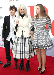 Diane Keaton went for edgy styling with a pair of black platform combat boots.