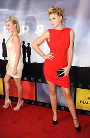 Alyson Michalka was red hot at the 'Super 8' release party in a saucy little dress with a cowl back.