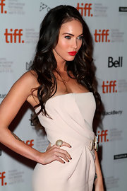 Megan Fox showed off her sparkling cocktail ring while attending the premiere of 'Passion Play'.