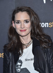 Winona Ryder attended the New York screening of 'Paterson' wearing her hair in disheveled waves.