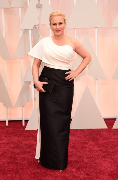Patricia Arquette One Shoulder Dress [red carpet,clothing,carpet,dress,shoulder,flooring,fashion,hairstyle,fashion model,gown,arrivals,patricia arquette,academy awards,hollywood highland center,california,87th annual academy awards]