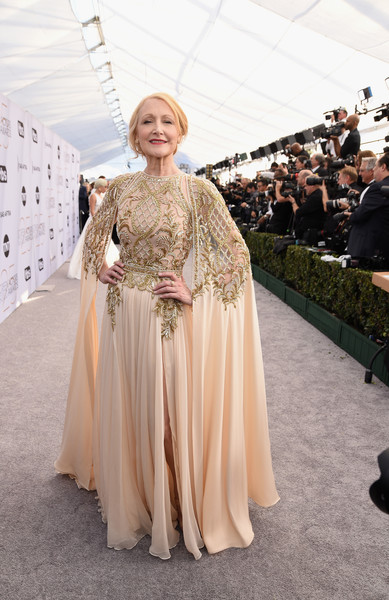 Patricia Clarkson Beaded Dress [red carpet,fashion,clothing,haute couture,dress,gown,fashion design,outerwear,costume design,event,victorian fashion,patricia clarkson,screen actors guild awards,screen actors\u00e2 guild awards,california,los angeles,the shrine auditorium]