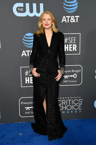 Patricia Clarkson Evening Dress [suit,formal wear,flooring,carpet,fashion,outerwear,red carpet,tuxedo,blazer,little black dress,arrivals,patricia clarkson,critics choice awards,santa monica,california,barker hangar]
