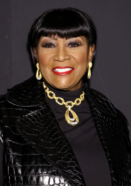Patti LaBelle Short Cut With Bangs [shows,the shows,hair,hairstyle,lip,eyebrow,black hair,forehead,bangs,smile,necklace,jewellery,zang toi,patti labelle,moynihan station,new york city,the dock,new york fashion week,zang toi - backstage - spring,fashion show]