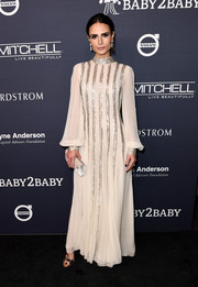 Jordana Brewster looked ethereal in a long-sleeve beaded gown by Monique Lhuillier at the 2017 Baby2Baby Gala.