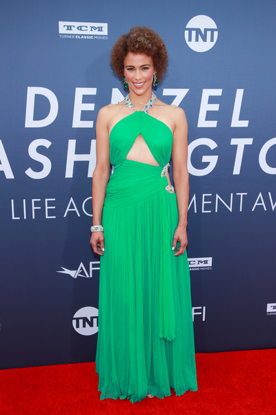 Paula Patton Cutout Dress [dress,red carpet,clothing,carpet,shoulder,green,premiere,gown,hairstyle,flooring,arrivals,denzel washington,american film institutes 47th life achievement award gala tribute to,paula patton,afi life achievement award,california,hollywood,dolby theatre]