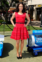 Paula Patton stepped out to a Pepsi event at The Grove in LA wearing a pair of glossy black platform pumps.