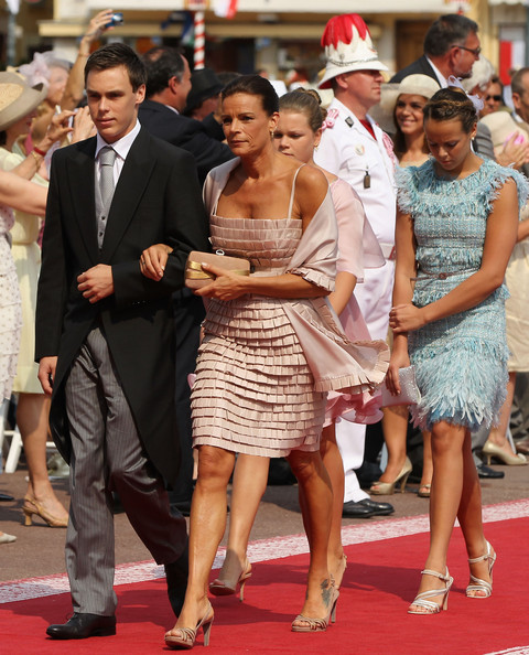 Pauline Ducruet Cocktail Dress [charlene of monaco,stephanie of monaco,albert ii,pauline ducruet,louis ducruet,dress,event,premiere,red carpet,fashion,flooring,carpet,fashion accessory,suit,ceremony,monaco,princes palace of monaco,monaco royal wedding - the religious wedding ceremony,wedding,ceremony]