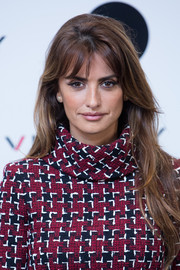 Penelope Cruz wore her long locks down with barely-there waves during her new cinema project presentation.