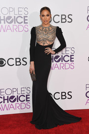 Jennifer Lopez looked downright divine in a black Reem Acra gown with a sheer, beaded bodice at the 2017 People's Choice Awards.