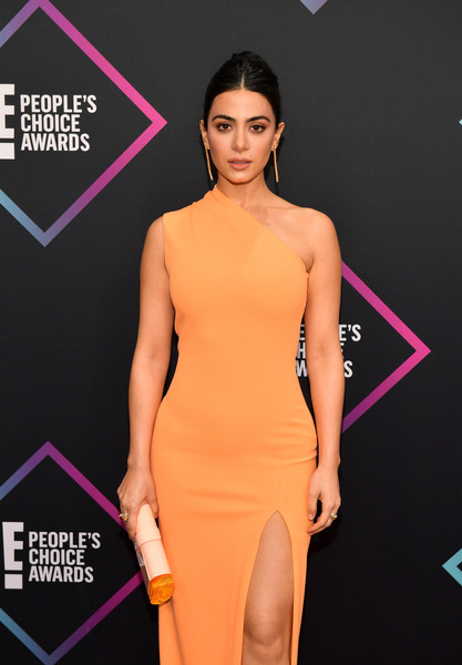 More Pics of Emeraude Toubia Braided Bun (4 of 4) - Emeraude Toubia Lookbook - StyleBistro [clothing,shoulder,dress,cocktail dress,fashion model,fashion,neck,purple,carpet,yellow,peoples choice awards,barker hangar,santa monica,california,arrivals,emeraude toubia]