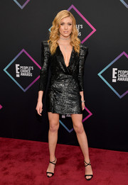 Katherine McNamara sealed off her look with black cross-strap heels by Giuseppe Zanotti.
