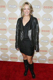 Andrea Anders was moto-chic at the Ones to Watch party in a black leather jacket layered over an LBD.