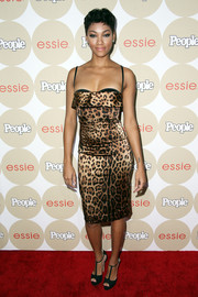 Bria Murphy worked the red carpet in a tight-fitting leopard-print dress by Dolce & Gabbana during the Ones to Watch party.