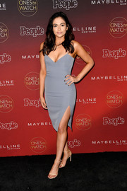 Bethany Mota went the vampy route in a figure-hugging gray House of CB dress during People's Ones to Watch event.