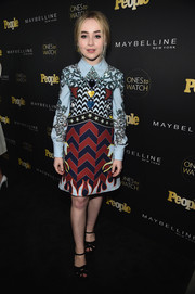 Sabrina Carpenter went old school with this eclectic print dress by Mary Katrantzou for the Ones to Watch event.