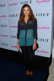 Jessica Lucas looked smart in a sheer two-tone button-down at the People StyleWatch Denim Awards.