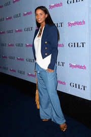 Joy Bryant attended the People StyleWatch Denim Awards wearing a funky pair of flare jeans.