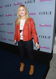 Maddie Hasson channeled Michael Jackson with this red leather jacket she wore to the People StyleWatch Denim Awards.