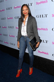 Garcelle Beauvais smartened up her button-down and jeans combo with a gray blazer when she attended the People StyleWatch Denim Awards.