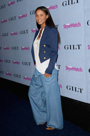 Joy Bryant teamed a blue cropped blazer with a white shirt and flare jeans for the People StyleWatch Denim Awards.