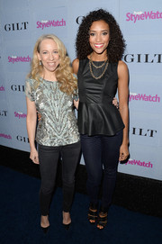 Annie Ilonzeh went for a casual-chic look with a pair of blue silk pants and a peplum top at the People StyleWatch Denim Awards.
