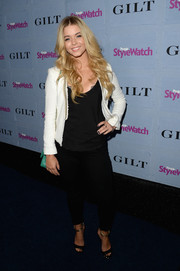 Sasha Pieterse teamed a chic white cropped jacket with a black shirt and jeans for the People StyleWatch Denim Awards.