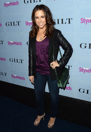 Lacey Chabert looked mildly edgy in a black leather-sleeve blazer during the People StyleWatch Denim Awards.