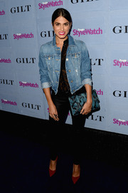 Nikki Reed tempered her sheer black blouse with a tough-looking jean jacket when she attended the People StyleWatch Denim Awards.