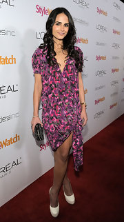 Jordana Brewster defied winter style conventions at the People StyleWatch event in white snakeskin platform pumps.