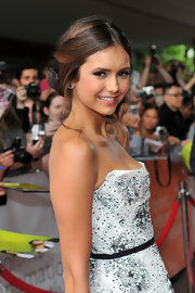 Nina Dobrev styled her hair in the most romantic of updos!