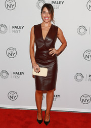 Sarah Shahi looked fiercely stylish in a sleeveless brown leather dress with a plunging neckline at the 'Person of Interest' panel during PaleyFest.