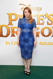 Bryce Dallas Howard cut a shapely silhouette in this fitted blue lace dress by Alexis at the UK gala screening of 'Pete's Dragon.'