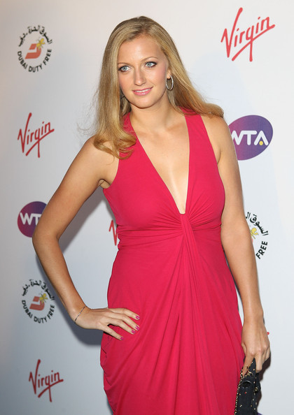 Petra Kvitova Pink Nail Polish [clothing,dress,cocktail dress,shoulder,blond,hairstyle,long hair,fashion,model,joint,arrivals,petra kvitova,the roof gardens,london,england,kensington,party,pre-wimbledon,wta tour,wta tour pre-wimbledon party]