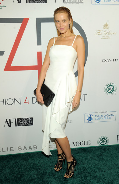 Petra Nemcova Gladiator Heels [clothing,dress,shoulder,cocktail dress,red carpet,joint,carpet,hairstyle,premiere,fashion,new york city,the pierre hotel,fashion 4 developments 7th annual first ladies luncheon,petra nemcova]