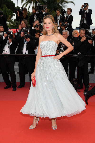 Petra Nemcova Strappy Sandals [flooring,fashion model,gown,carpet,fashion,dress,girl,haute couture,cocktail dress,event,red carpet arrivals,petra nemcovafashion,burning beoning,cannes,france,cannes film festival,screening,palais des festivals]