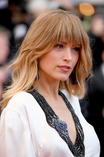 Petra Nemcova Long Wavy Cut with Bangs [hair,hairstyle,blond,face,bangs,lady,beauty,hair coloring,layered hair,long hair,red carpet arrivals,petra nemcova,blackkklansman,screening,cannes,france,cannes film festival,palais des festivals]