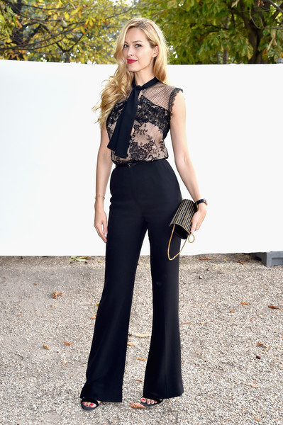 Petra Nemcova Pussybow Blouse [clothing,fashion model,fashion,dress,photo shoot,waist,formal wear,trousers,photography,neck,petra nemcova,front row,part,paris,france,elie saab,paris fashion week womenswear spring]